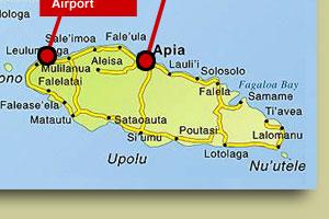 Hotels Samoa and accommodation Apia budget beach hotel Samoa Map